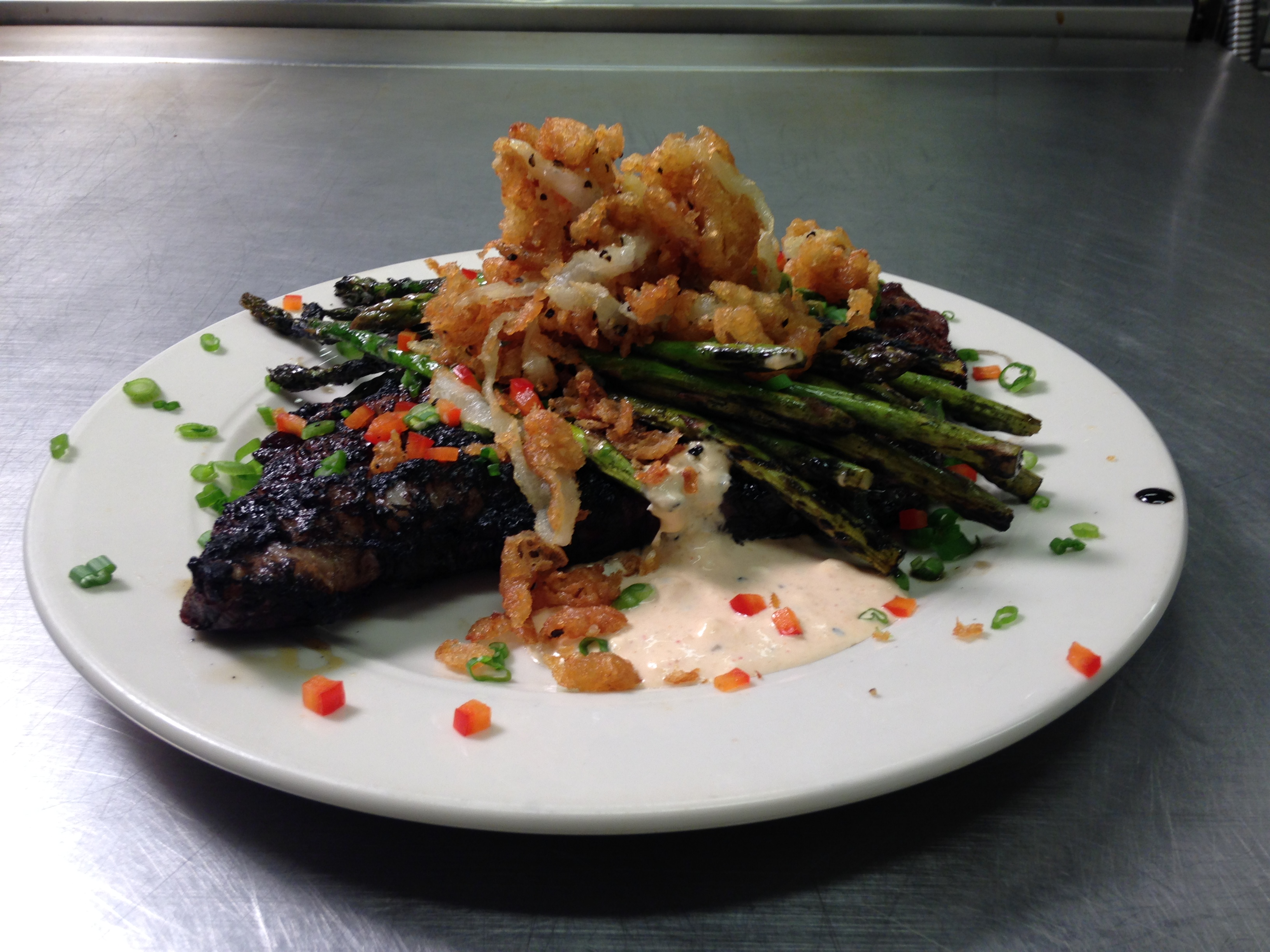 ... Kitchen: Grilled Coffee Rubbed Rib Eye Steak & Lemon Roasted Asparagus