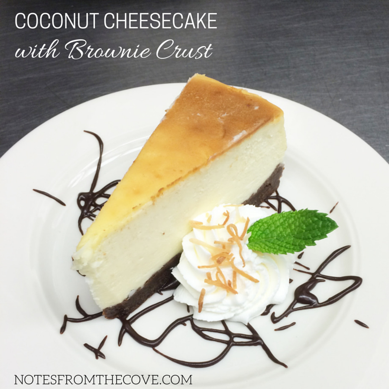COCONUT CHEESECAKE WITH BROWNIE CRUST