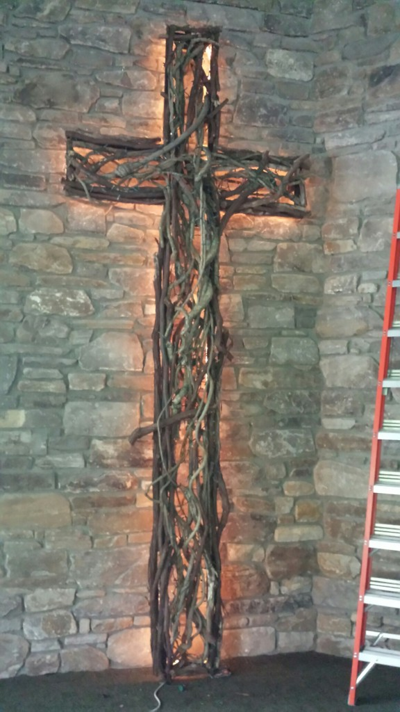 Cross made by Angie with vines May 2015