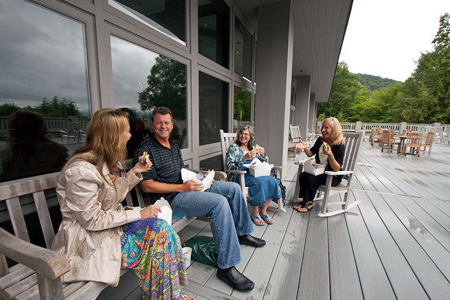Guests on the deck of the Training Center.