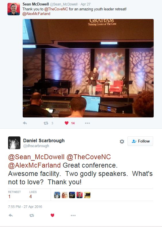 Tweet from Sean McDowell from LRR May 2016