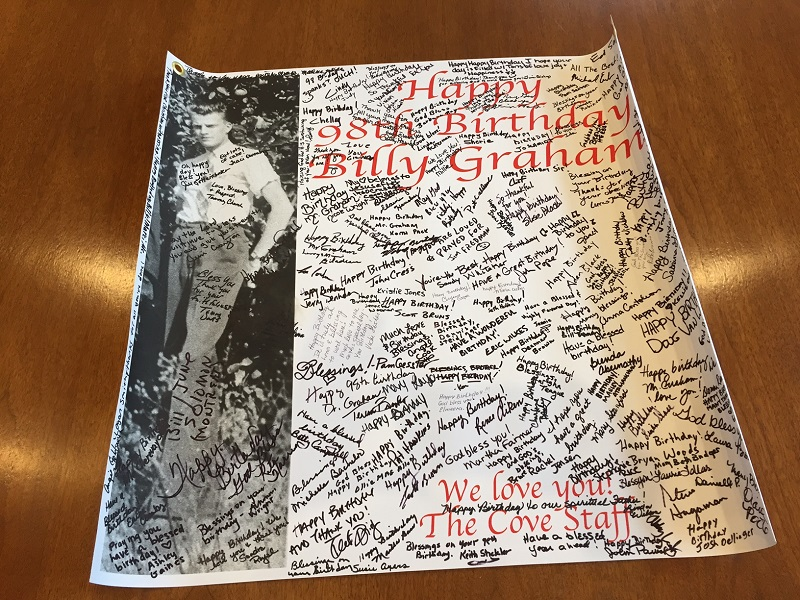 Billy Graham 98 birthday card from staff