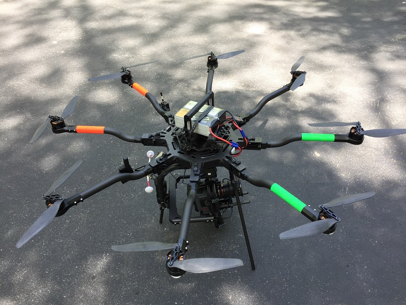 Drone closeup in parking lot