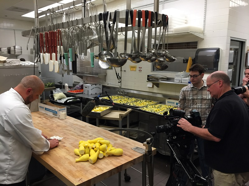 GG video promo shoot kitchen chef cutting onion